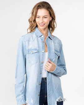 DISTRESSED DENIM SHIRTS JACKET