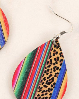 Navajo Print Tear Drop Wooden Dangling Earrings