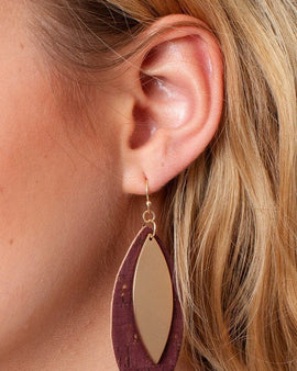 Leaf Shape Cork Metal Dangling Earrings