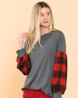 Tunic Top with Plaid Puff Sleeve