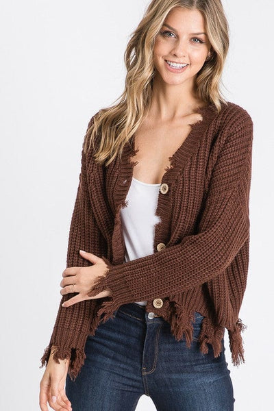 Distressed hem button detail knit cardigan