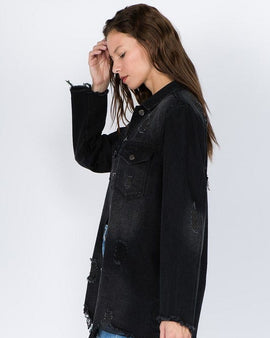 DISTRESSED BLACK SHIRT STYLE JACKET
