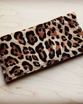 Hair-on-hide leather wallet-leopard
