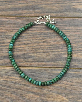 "16"" Long, Deep Tone Natural Turquoise Necklace"