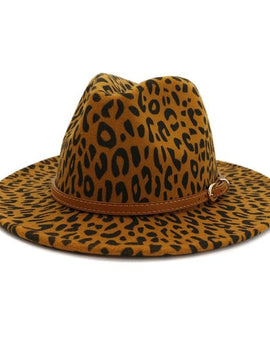Brown leather belt leopard pattern panama hat