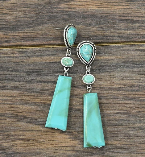 Long!  Synthetic Resin, Natural Turquoise Post Earrings