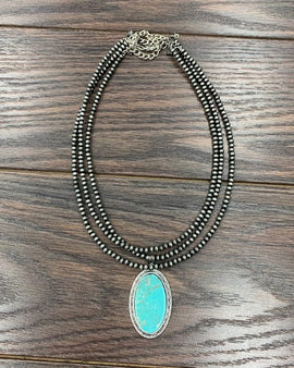"8"" Long, Tiny 4mm Navajo Pearl & Natural Turquoise Pendant Necklace"