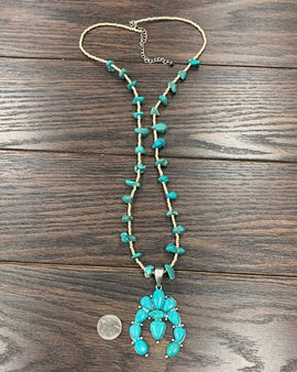 "36"" Long, Squash Blossom Naja, Natural Turquoise Necklace"