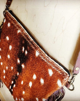Axis Deer Hide Printed Leather Crossbody Handbag