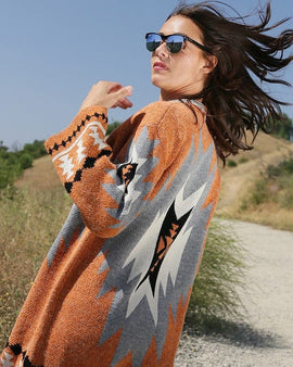 Multi color aztec patterned knitted cardigan