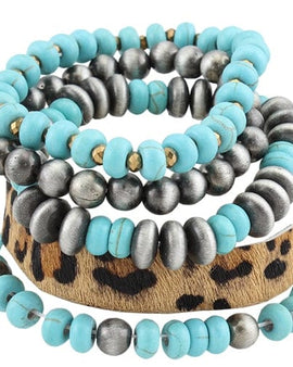 Turquoise And Leopard Stack Bracelet