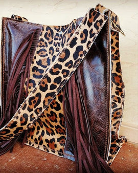 Hair on HIde Box Handbag w/ Leopard Accents