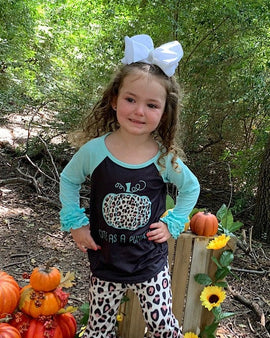 BLACK & BLUE PUMPKIN PRINTED 2 PIECE SET