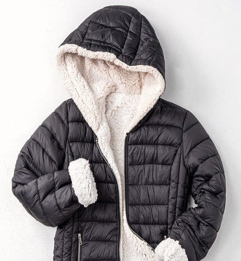 Sherpa fleece lined puffer jacket w hood