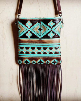 Small crossbody handbag turquoise navajo leather