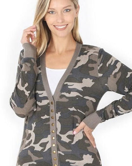 CAMOUFLAGE PRINT SNAP BUTTON CARDIGAN SWEATER