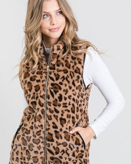 Animal Print Padded Vest With Side Pockets Detail