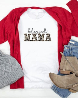 Leopard Blessed Mama Graphic Tee