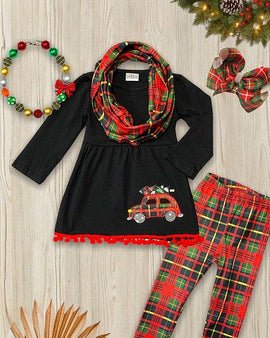 Black tunic w/ tree on a car applique & multi-color printed scarf & matching leggings.