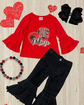 "Be mine "" girls graphic top w/ black denim bell pants."