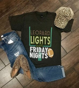 LEOPARD LIGHTS AND FRIDAY NIGHTS GRAPHITE VNECK  T-SHIRT