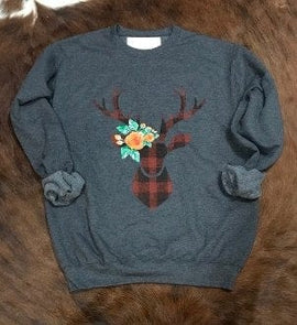 PLAID DEER SWEATSHIRT