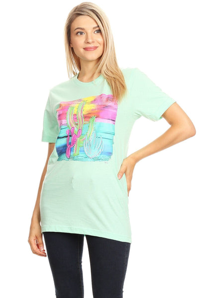 Cacti, short sleeve graphic tee with a crew neckline.