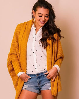 KNIT DOLMAN sleeve long ribbed cardi