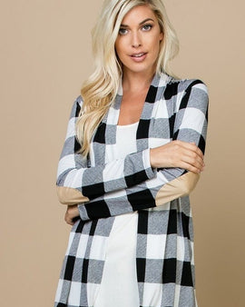 ELBOW PATCH DETAIL OPEN PLAID CARDIGAN