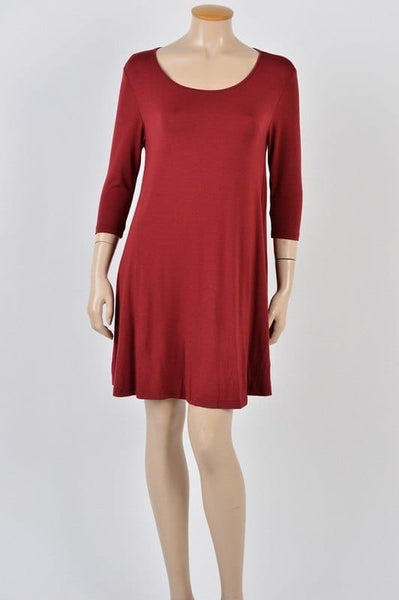 Half Sleeve round neck trapeze dress with side pocket