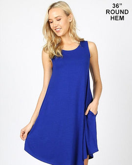 SLEEVELESS ROUND HEM SWING DRESS - SIDE POCKETS