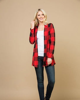 Plaid print open front cardigan