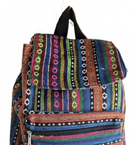 Tribal Boho Canvas Multi Colored Back Pack