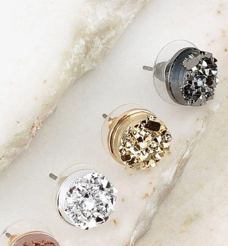 Round Druzy Post Earrings