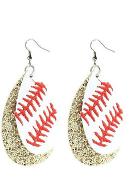 Baseball Glitter Earrings