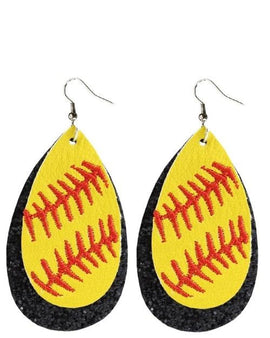 Softball Glitter Earrings