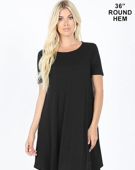 SHORT SLEEVE ROUND HEM A-LINE DRESS - SIDE POCKETS