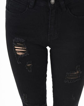 Black Distressed Cropped denim with a raw hem!