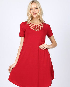 SHORT SLEEVE TRIPLE LATTICE DRESS