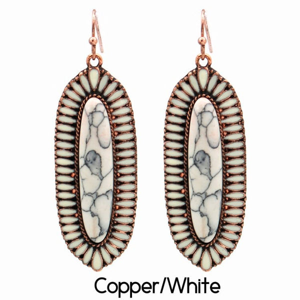 Squash Blossom Earring Copper/White
