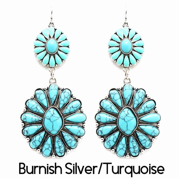 Burnish Earring  Silver/Turquoise