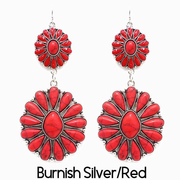 Burnish Earring Silver/Red