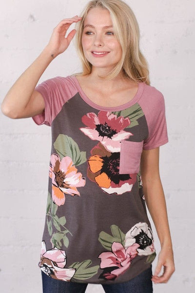 Flower top with pocket B1531