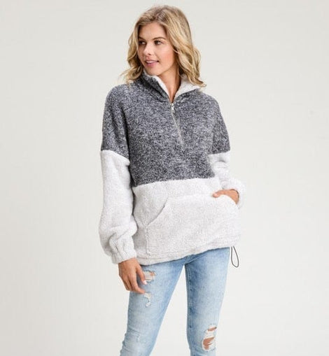 TWO TONE TURTLE NECK FUZZY PULL UP ZIPPER SWEATER