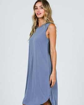 Cupro Round Neck Sleeveless Hi Low Hem Dress.