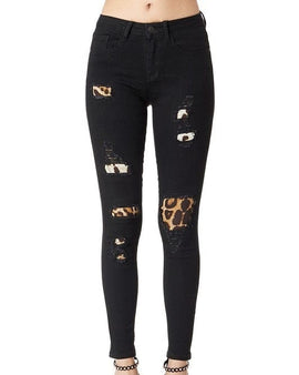Black Leopard print Patch Skinny Regular