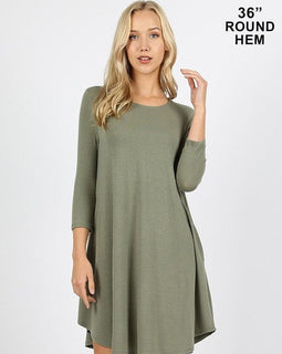 3/4 SLV ROUND HEM A LINE DRESS WITH SIDE POCKETS