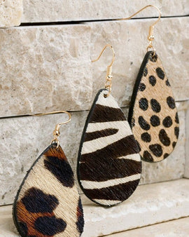 Animal Print Faux Fur Earrings
