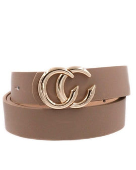 Faux leather double CC buckle belt