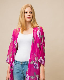 Sheer Three Quarter Sleeve Floral Print Kimono Cardigan